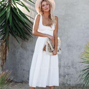 Ferrara Cotton Blend Tiered MIDI Dress - off white